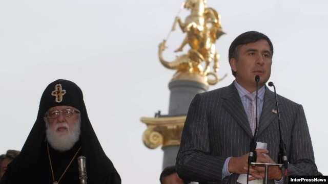 Patriarch Ilia II  (left) was once a strong supporter of President Mikheil Saakashvili, but has criticized his actions in last year's war with Russia.