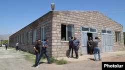 Armenia - A building in the village of Shamiram where four men were shot dead and seven others wounded on 1Aug2017.