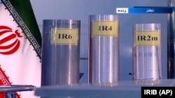 Three centrifuges at Iran's Natanz nuclar facility, as shown on Iranian TV
