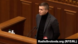 Mykhaylo Tkach speaks to the Verkhovna Rada on November 6.