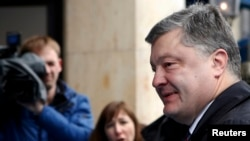 Ukrainian President Petro Poroshenko arrives at the 53rd Munich Security Conference on February 17