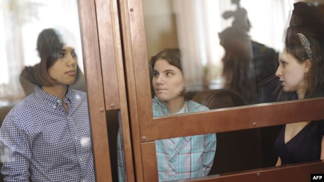 Members of Pussy Riot during a court hearing in Moscow on July 30: Nadezhda Tolokonnikova (left),  Yekaterina Samutsevich (center), and Maria Alyokhina. They face up to seven years in prison.