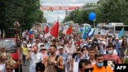 تصویر از راهپیمایان در شهر خباروفسک