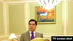"Turkmen President Gurbanguly Berdymukhammedov: ""Would you like to share this melon with me?"""