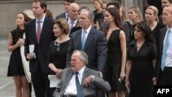 Former president George H.W. Bush and son, former president George W. Bush,
