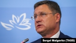 Russian Energy Minister Alexander Novak at an economic forum in Vladivostok on September 5.