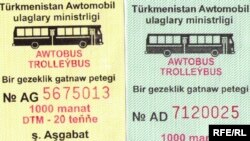 Türkmenistanyň Awtomobil ulaglary ministrliginiň çap edýän ýol biletleri.