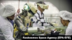 The FEDOR robot is seen during tests at the Baikonur Cosmodrome in Kazakhstan in July.