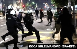 Police clash with protesters outside the Serbian parliament in Belgrade.