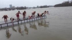 Serb Swimmers Take Icy Plunge For Epiphany