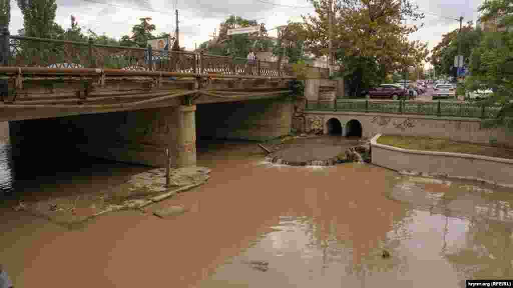 Мутная вода реки Салгир после грозы в Симферополе
