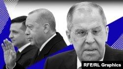 Справа налево: Сергей Лавров, Реджеп Эрдоган и Владимир Зеленский. Коллаж