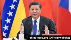 Chinese President Xi Jinping speaks in Beijing during the virtual 17+1 summit on February 9.