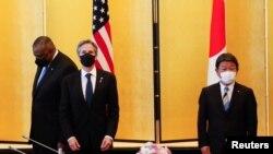 Secretarul de stat al SUA, Antony Blinken, și ministrul de Externe al Japoniei, Toshimitsu Motegi
