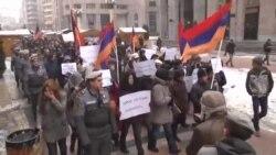 Yerevanda müxalifət liderinin azad olunması tələbilə aksiya keçirilib