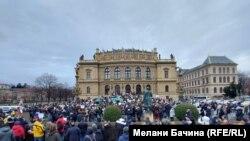 Прага, митинг в поддержку Алексея Навального 23 января 2021 года