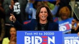 Senatoarea Kamala Harris vorbind în favoarea lui Joe Biden la Renaissance High School din Detroit. 9 martie 2020