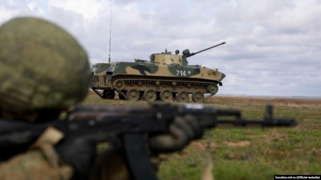 Ресей әскери күштері Қырымдағы жаттығу жиынында. 19 наурыз, 2021 жыл.