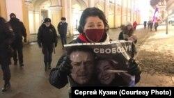 Пикет за освобождение Навального в Санкт-Петербурге.