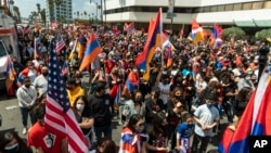 Armenian-Americans rally in Beverly Hills, California on April 24 after President Biden's recognition of the Armenian genocide.