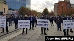 Kosovo: Workers of Telecome protest in Prishtina, Kosovo.