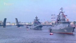 Putin Addresses Sailors On Russian Navy Day In St. Petersburg