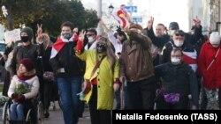Fogyatékkal élő emberek minszki tüntetése Lukasenka ellen 2020. október 22-én.