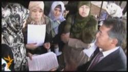 Пикет жен узбекских беженцев в Алматы