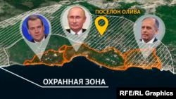 Охранная зона вокруг дач Путина и Медведева в Крыму. В нее попадает санаторий ФСБ и поселок Олива