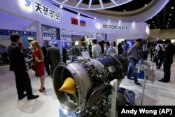 The Motor Sich display booth showcasing the Ukrainian company's engines at the Aviation Expo China in Beijing in September 2017.