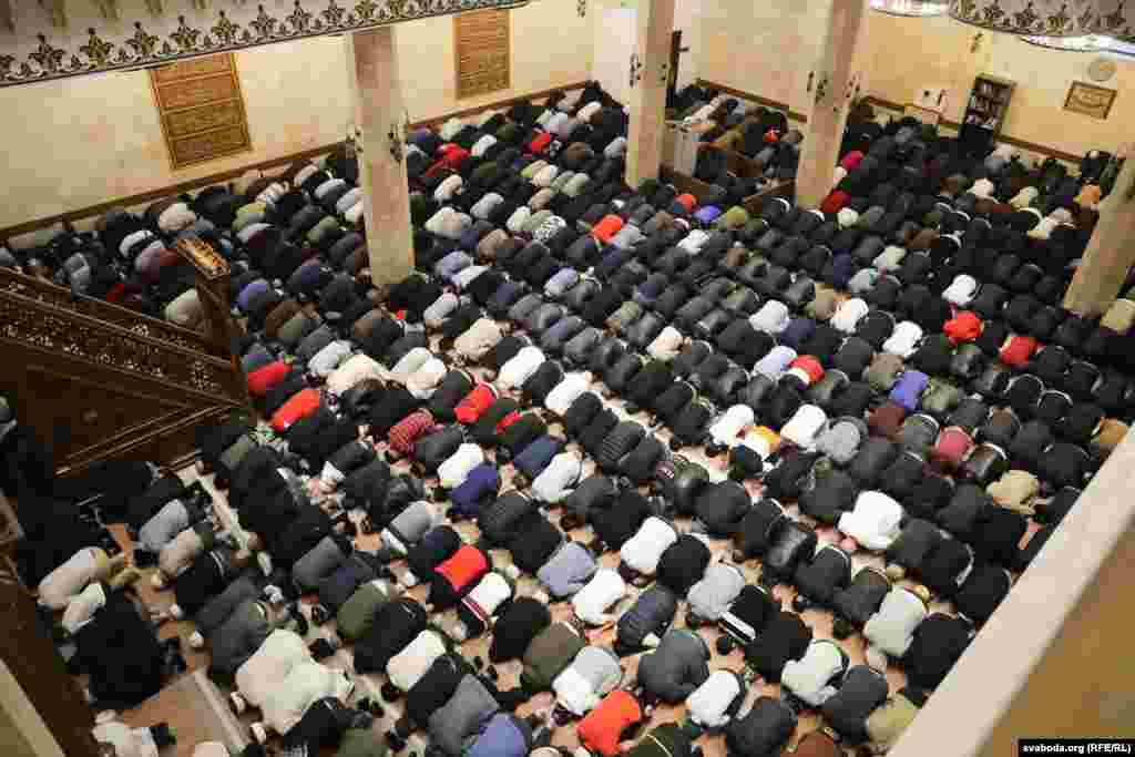 More than 1,000 people attended prayers at this mosque in Minsk, Belarus.