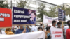 Supporters of Asylbek Jeenbekov and Torobay Zulpukarov gathered at the Bishkek City Court
