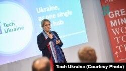 Tech Ukraine director Nataly Vyeryemyeyeva delivers a presentation in Kyiv