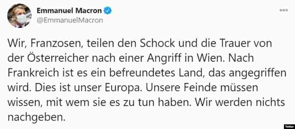 """""""Mi, franciák osztozunk az osztrák emberek megrendülésében és fájdalmában. Franciaország után ismét egy barátságos nemzetet ért támadás"""" - utalt vissza a francia elnök az október 29-i nizzai terrortámadásra."""
