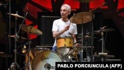 Charlie Watts a Rolling Stones montevideói koncertjén, 2016. február 16-án