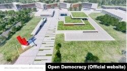 """Open Democracy tashkiloti hisobotiga ilova qilingan surat. """"Akfa"""" universiteti binolari tashqi ko'rinishi."""