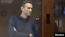 Kremlin critic Aleksei Navalny at his court hearing in Moscow on February 5.