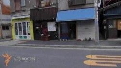 Японияликнинг Токио кўчаларида сайр қилаëтган африкалик тошбақаси