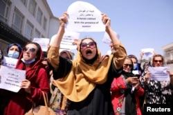 تجمع اعتراضی فعالالن مدنی و مدافعان حقوق زنان در کابل در روز جمعه سوم سپتامبر