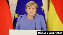 Германската канцеларка Ангела Меркел зборува на прес-конференција по состанокот со рускиот претседател Владимир Путин во Кремљ. 20.08.2021.