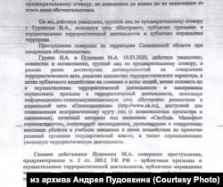 Из постановления о привлечении в качестве обвиняемого Максима Пудовкина