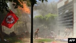 مشهد في أعقاب التفجير الذي وقع في مدينة سروج التركية