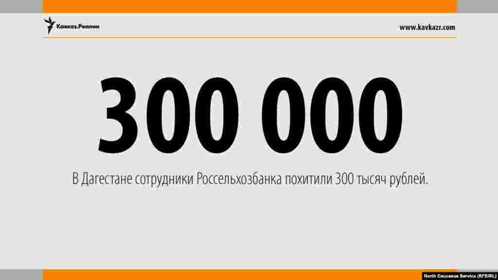 14.04.2017 //В Дагестане сотрудники Россельхозбанка похитили 300 тысяч рублей