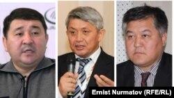 На комбинированном фото — слева направо: кыргызские политики Кубанычбек Кадыров, Эрнест Карыбеков, Бектур Асанов.