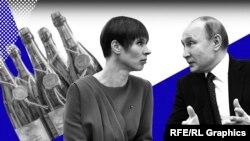Фотоколаж: президент Естонії Керсті Кальюлайд і президент Росії Володимир Путін