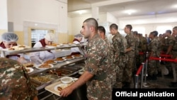 Armenia -- Soldiers at the privately managed canteen of a military base in Armavir, July 19. 2019.