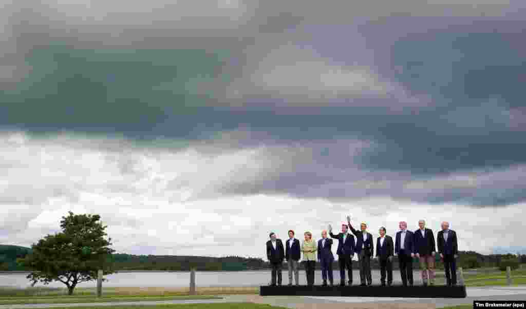 Leaders of the G8 countries pose for a photograph at a summit in Lough Erne, Northern Ireland, on June 18.