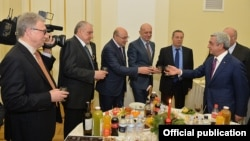 Armenia - President Serzh Sarkisian hosts a year-end reception for leading businesspeople, Yerevan, 23Dec2015.