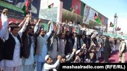 Предвыборная акция сторонников одного из кандидатов в президента Афганистана.