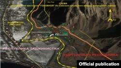 Қырғызстан мен Тәжікстан арасындағы шекара сызығының бөлігі.